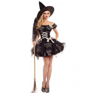 Black Sliver Sparkle Witch Costume