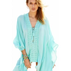 Light Mint Crochet Applique Tassel Tie Beach Kaftan - СВЕЖИЕ ПОСТУПЛЕНИЯ!