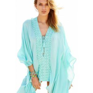 Light Mint Crochet Applique Tassel Tie Beach Kaftan