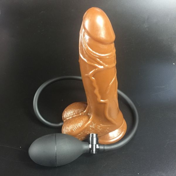 Inflatable penis brown