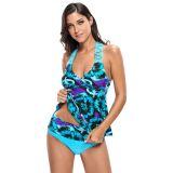 Bluish Floral Print Macrame Tankini and Short Swimsuit
