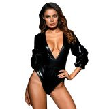 BDSM (БДСМ) - Black Ruched Ruffle Sleeve Leatherette Bodysuit