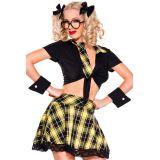 5 Pieces Yellow Plaid Detention Hottie Costume