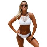 White Crop Lace Overlay Bikini Set