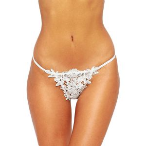 White Thong with lace pattern