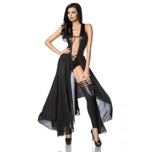 Black Fashion Sexy Vinyl Long Dress