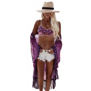 Bohemian Vibe Purplish Floral Chiffon Beach Cover Up