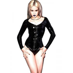 Black Wetlook Long Sleeve Bodysuit
