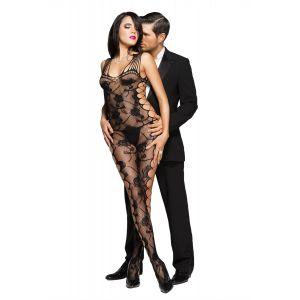 Black Sexy Cut-out Side Rose Pattern Bodystocking - Комбинезоны