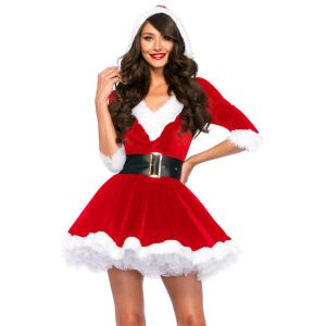 Santa Baby Crystal Velvet Christmas Holiday Dress