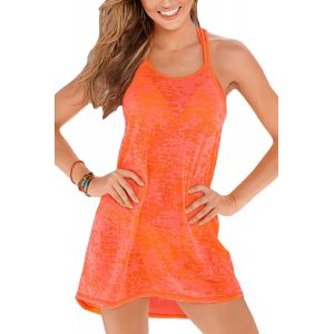 Orange Braided Racerback Burnout Beach Dress