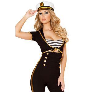 Черная морская униформа с белой фуражкой