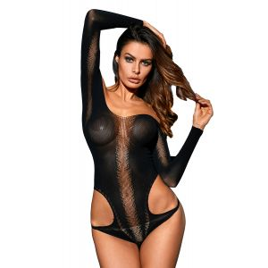 Black bodysuit with long sleeves and open shoulders