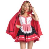 Red Black 3 Piece Romantic Red Riding Hood Costume