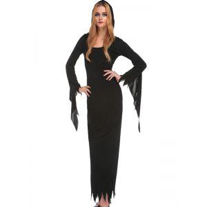 Women Sexy Black Long Dress Halloween Costume