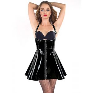 Black S-XXL Sexy Zipper Front Vinyl Dress