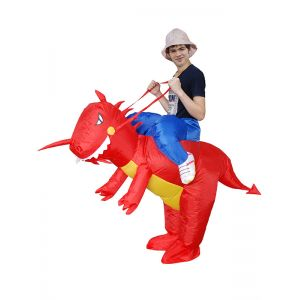Red One Size Inflatable Dragon Mascot Costume
