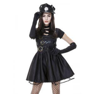 Black M-XL Women Police Cops Costume