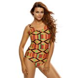 Geometric Bikini Romper Zipped One Piece Bathing Suit