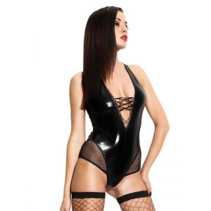 Sexy Black Vliyl Teddies Lingerie