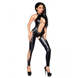 Sexy Black Women Leather Jumpsuit