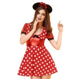 Red One Size Lovely White Flowers Mickey Costume