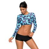 Long Sleeve Cropped Crisscross Hollow-out Back Bathing Suit