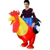Red One Size Inflatable Rooster Chicken Mascot Costume