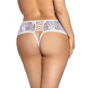 White M-6XL Transparent Lace Sexy Panties