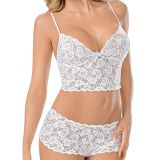 White Woman Sexy High Waist Lace Bra Set