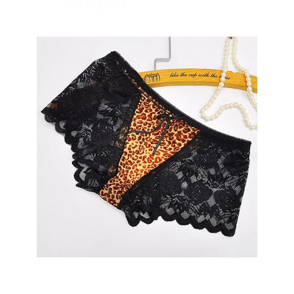 Black One Size Floral Printing Lace Panties