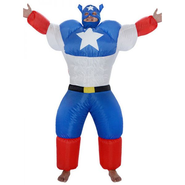 Blue One Size Inflatable American Captain Mascot Costume