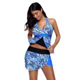 Abstract Sea Wave Print Tankini Culotte Swimsuit