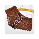 Brown One Size Floral Printing Lace Panties