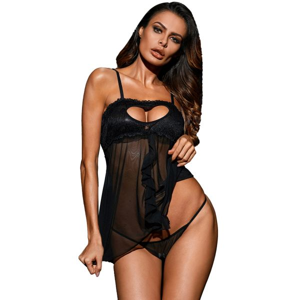 Black Heart Cut out Bust Babydoll with G-string