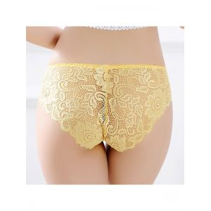 Yellow One Size Sexy Floral Lace Panties