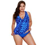 Blue Leaf Print Cami Swim Top and Panty Set