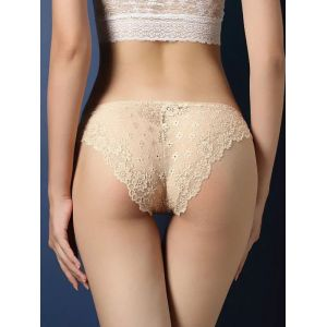 Apricot One Size Lace Patchwork Panties