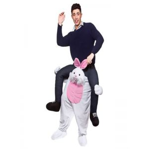 Grey One Size Easter Bunny Carry Me Mascot Costume
