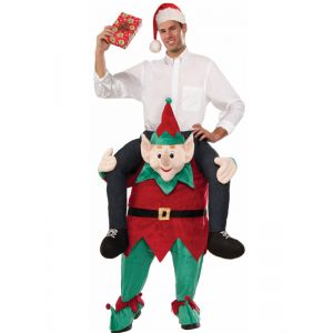 Red One Size Elf Santas Carry Me Mascot Costume
