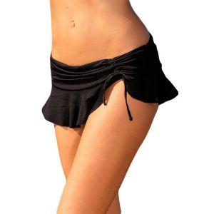 Black Side Tie Skirted Hipster Bikini Bottom