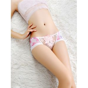 White One Size Floral Print Panties