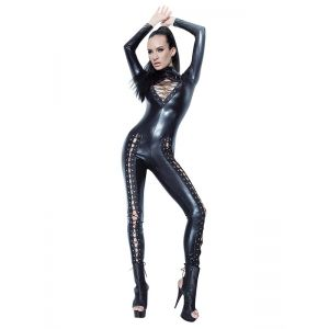 Sexy Women Black Vinyl Jumpsuit
