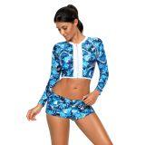Long Sleeve Vibrant Print Cropped Rashguard Swimsuit