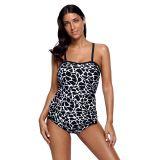 Monochrome Animal Print Two Piece Tankini Swimsuit