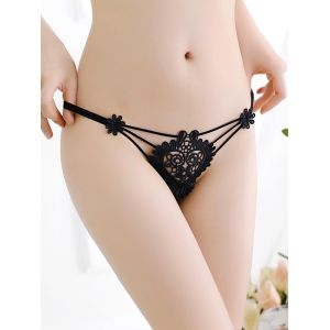 Black One Size Sexy Lace heart Panties