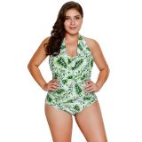 Green Leaf Print Halterneck One Piece Swimsuit