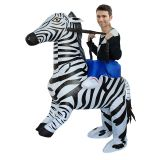 Multicolor One Size Zebra Inflatable Rider Mascot Costume
