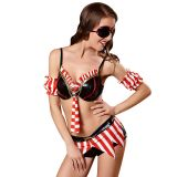 Red L Sexy Striped Design Pirate Costume