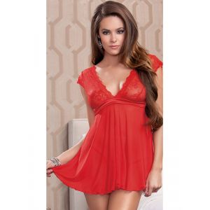 Red One Size Lace Transparent Babydoll Lingerie